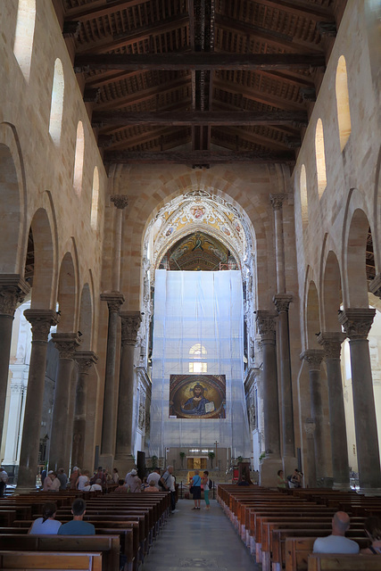 The apse is screened off for repairs
