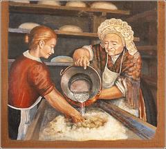 Usseaux : Arti e mestieri - murales : l'impasto per il pane -