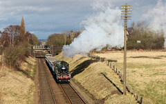 LMS Class 2 no 46521 passes Woodthorpe on the Great Central Railway