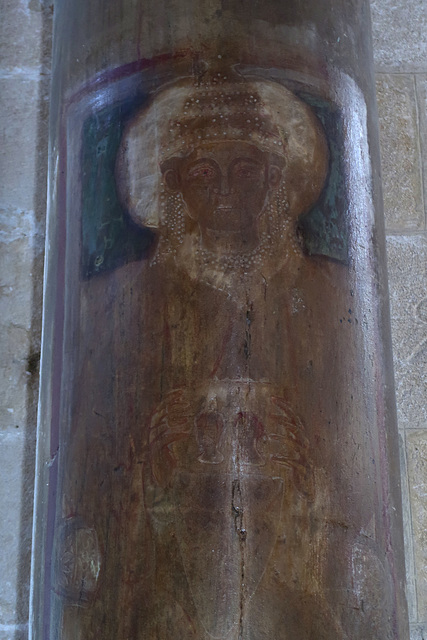 Very old painted image on a pillar