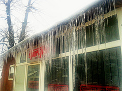 A little less than 100 icicles