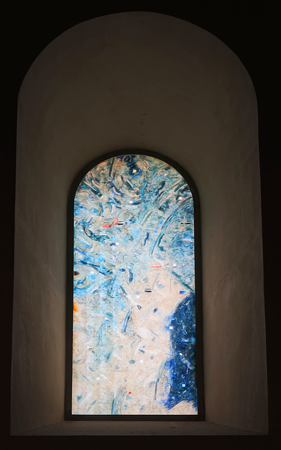 Modern, abstract stained glass window
