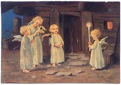 Kristnaska bildkarto anĝeletoj 1915, aŭtoro nekonata