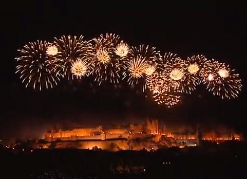 Feu d'artifice du 14 juillet à la Cité de Carcassonne