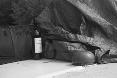 Wine on the narrowboat roof - 1