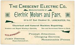 Crescent Electric Company, Electric Motors and Fans, Lancaster, Pennsylvania, ca. 1895