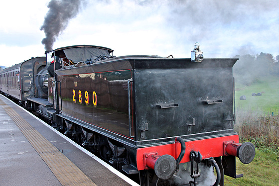 Hunslet Austerity 0-6-0 2890 with 2E32 10.00 Ramsbottom - Bury at Burrs Country Park E.L.R. 19th October 2019.