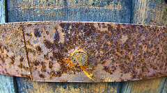 Wooden Barrel Planter. Rusty Bit