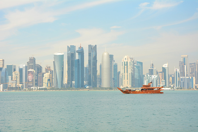 Qatar, Doha, Skyline on the Persian Gulf