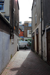 Junction of Caroline Place and alleyway, looking towards Great George Street