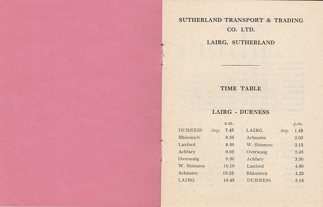 Sutherland Transport and Trading Company 1965/1966 timetable - Page 1
