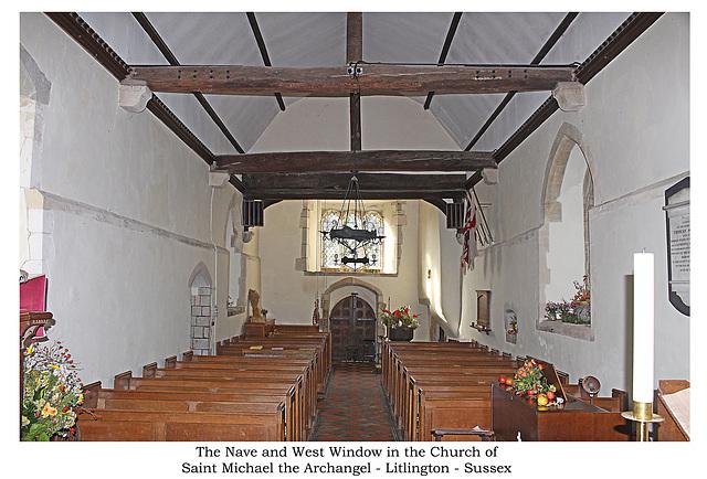 Litlington St Michael Sussex interior to west Harvest week 13 10 2018