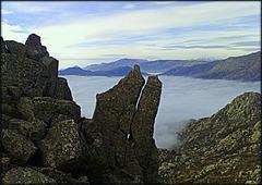 Sierra de La Cabrera in a sea of fog.
