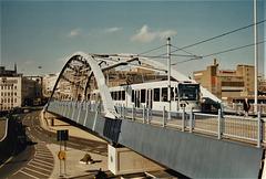 Sheffield Supertram set 22 above Park Square roundabout in Sheffield – 9 Oct 1995 (290-04)