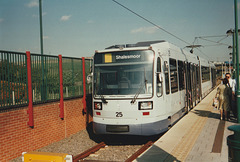 Sheffield Supertram set 25 at Meadowhall station – 9 Oct 1995 (290-09)