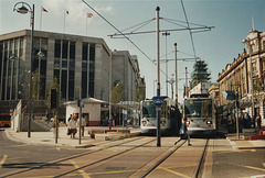 Sheffield Supertram sets 13 and 05 in Sheffield city centre – 9 Oct 1995 (290-03)