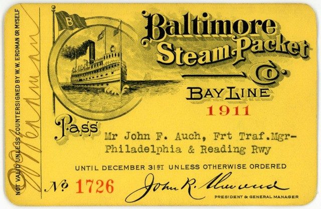 Baltimore Steam Packet Company Pass, 1911