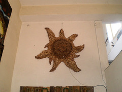 Sun made out of cork stoppers.