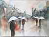 Aquarelle : Les parapluies dans la ville