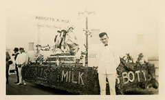 "Abbotts ""A"" Milkman, Milkmaid, and Parade Float, ca. 1922"