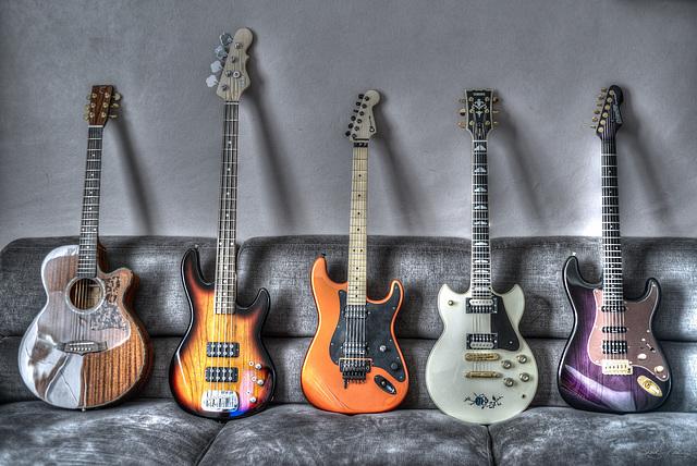 Guitars and sofa