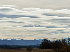 Lenticular (?) clouds over the mountains