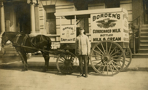 Milkman, Horse, and Wagon for Borden's Condensed Milk, Bottled Milk, and Cream
