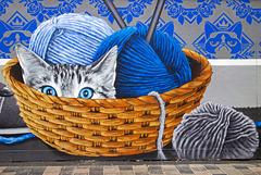Cat in a Basket Mural