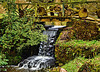 One of the many bridges and waterfalls at Minterne Gardens