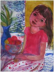 Girl sitting near the window