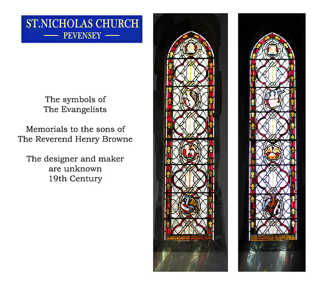 St Nicholas, Pevensey, The Reverend Henry Browne's sons' memorial windows
