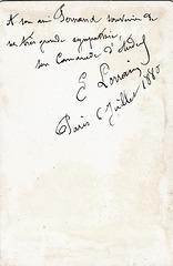 Eugène Lorrain's autograph at the back