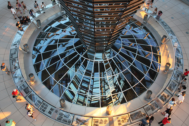 Looking down on the Reichstag Atrium level