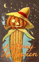 A Merry Halloween—Corncob Jack-o'-Lantern Scarecrow