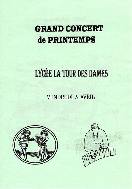 Concert Ancoeur au lycée de Rozay-en-Brie le 05/04/1996