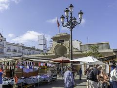 Historische Markt auf dem Plaza de la Libertad und allerlei Meeresgetier