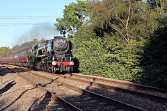Bulleid Merchant Navy class 35018 BRITISH INDIA LINE Scarborough Spa Express at Flaxton Moor crossing with 1Z27 16.41 Scarborough - Carnforth 16th September 2021.