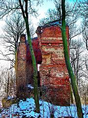 Stuer, Burgruine (Wohnturm) im Winter 2003