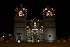 Peru, Puno, The Cathedral at Night