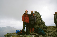 Alan & Neil at the summit Cairn Sgurr Mhor, Beinn Alligin 16th May 1996