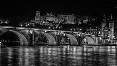 Heidelberg, Carl-Theodor-Bridge and Castle /  Carl-Theodor-Brücke and Schloss (135°)
