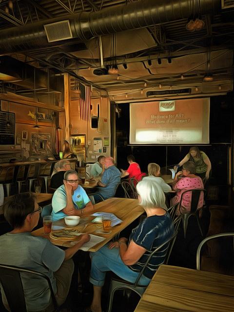 lecture at a local brewpub
