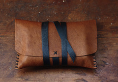 Cognac leather pouch