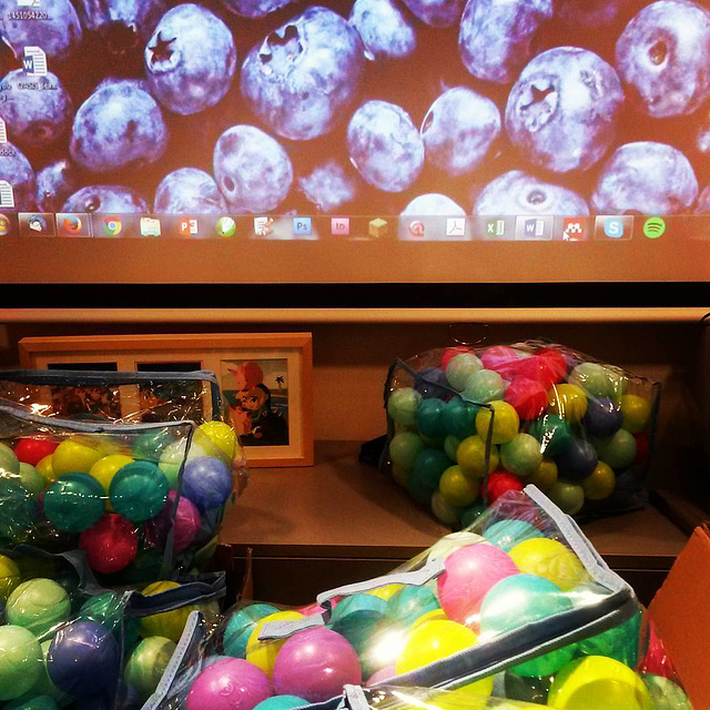 244 Abandoned ball pit balls and blue berries