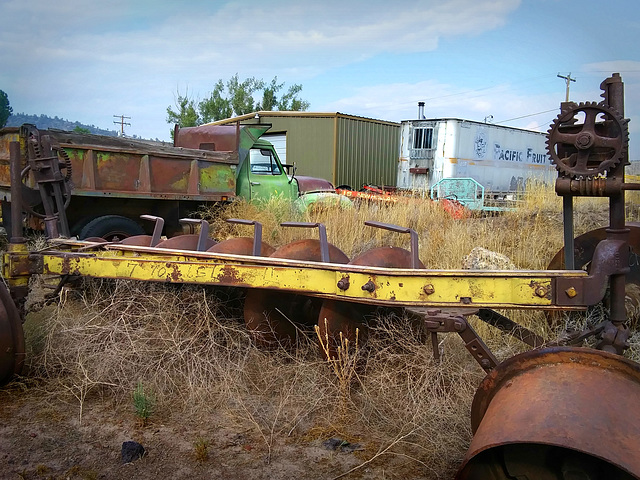 Random parts and old dump truck