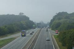 DSCF9541 Freestones Coaches (Megabus contractor) E11 SPG (YN08 JBX) on the A11 near Kennett - 2 Sep 2017