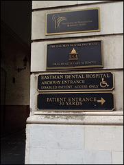 Eastman Dental Hospital signs