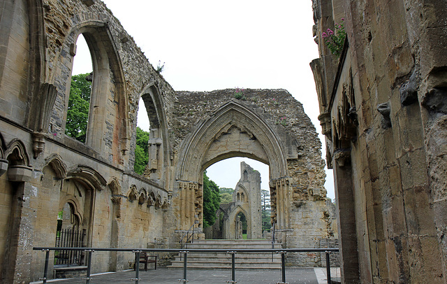 The view  of Galstonbury Abbey from inside the Lady Chapel