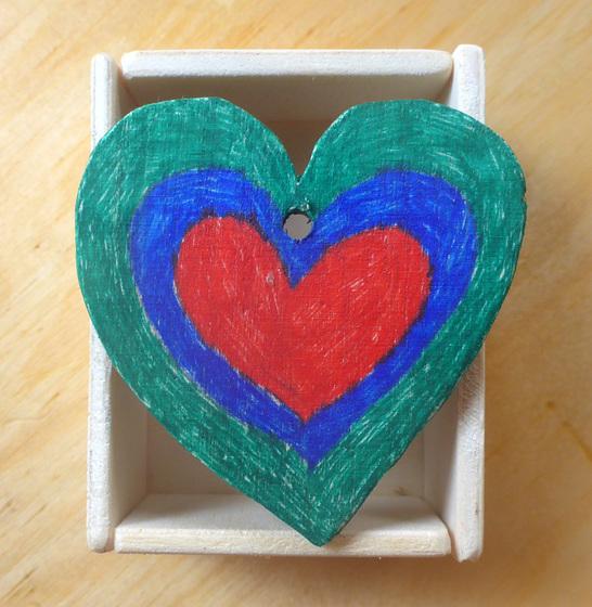 Herz rot - blau - grün  - koro ruĝa - blua - verda