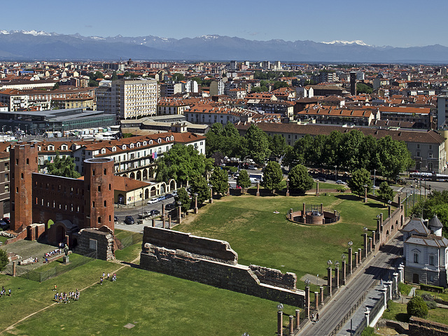 Turin from the top of the bell tower of the St. John the Baptist Cathedral - View on Palatine Gate, Po Valley to Rosa Mountain